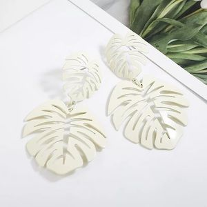Jewelry - White Leaf Palm Drop Earrings